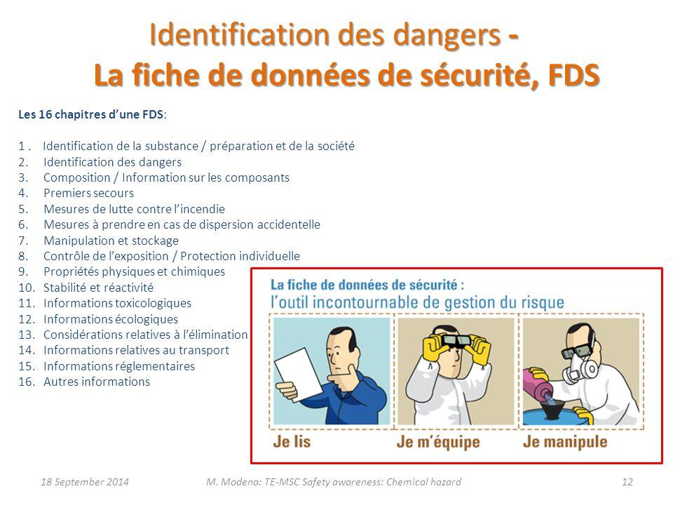 Identification des dangers - La fiche de données de sécurité, FDS
