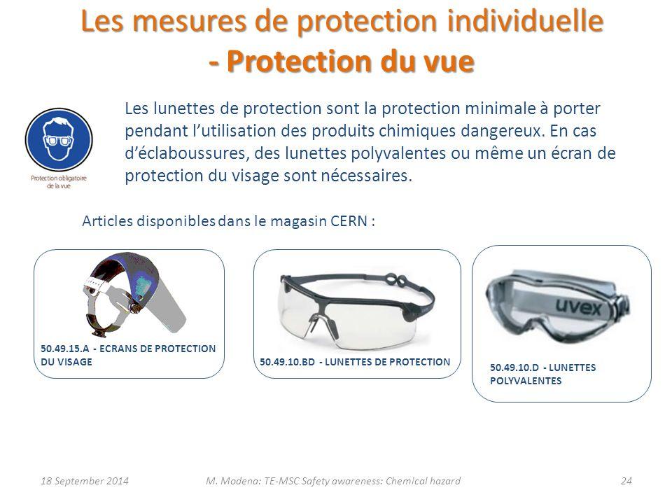 Les mesures de protection individuelle - Protection du vue