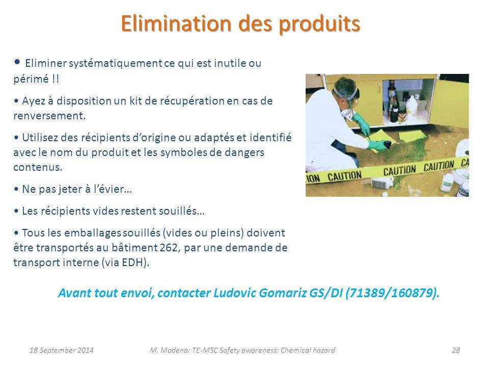 Elimination des produits