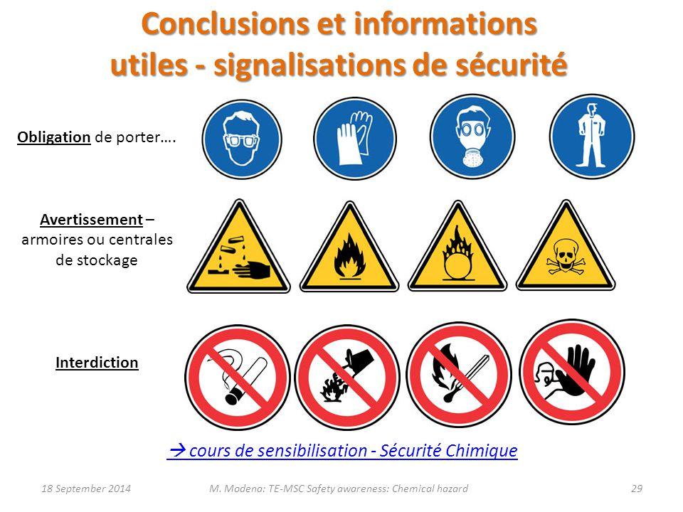 Conclusions et informations utiles - signalisations de sécurité