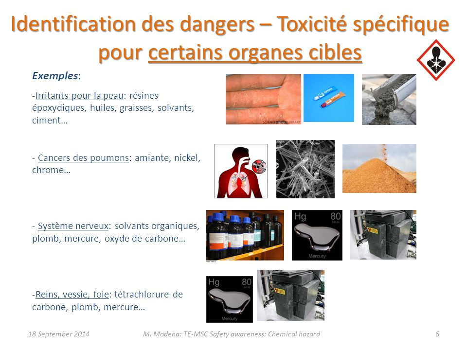 M. Modena: TE-MSC Safety awareness: Chemical hazard