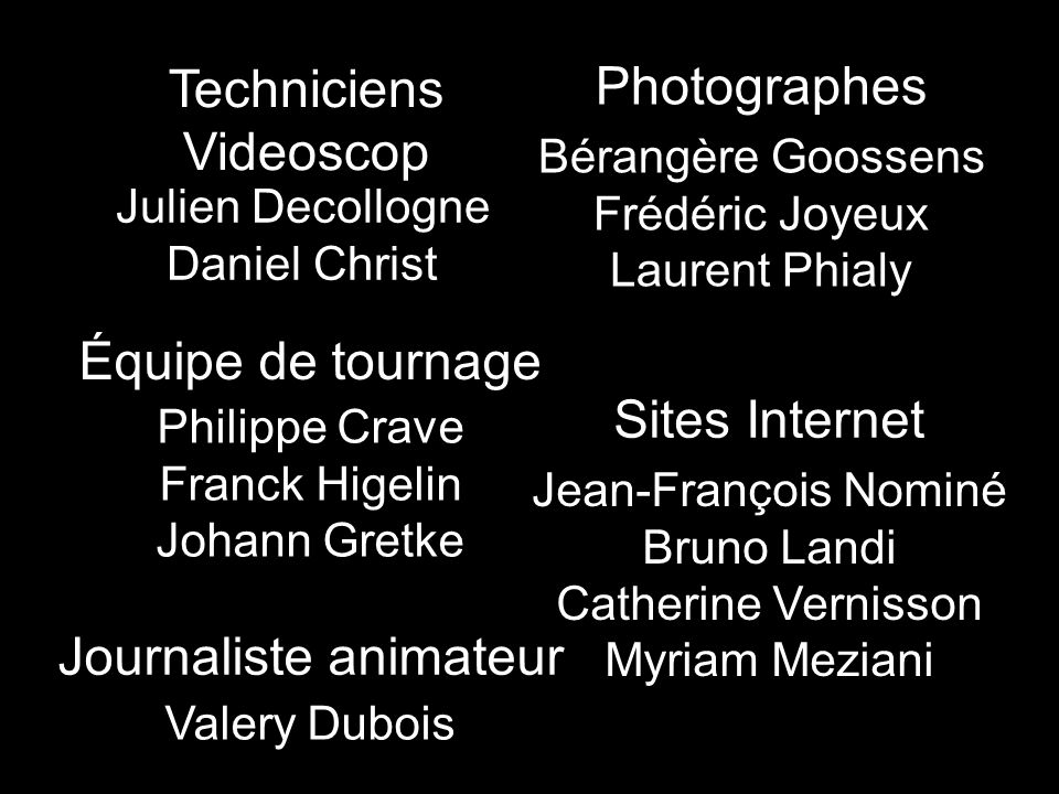 Techniciens Videoscop Photographes