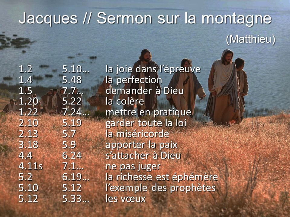 Jacques // Sermon sur la montagne (Matthieu)