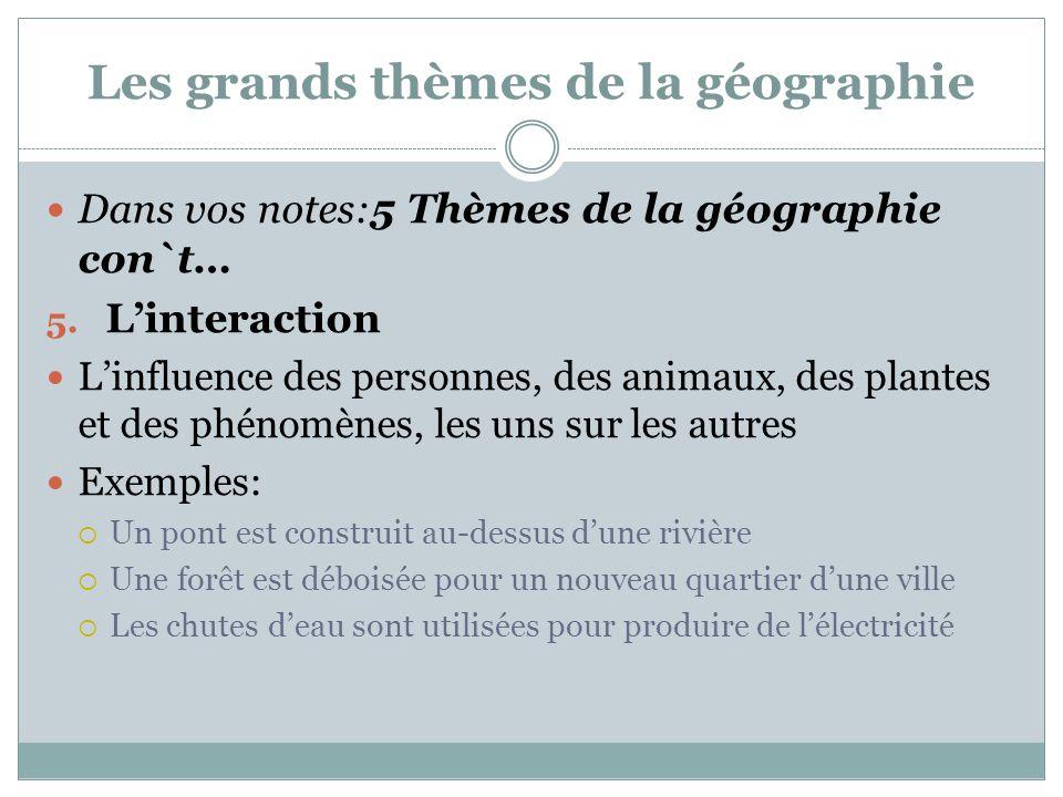 Les grands thèmes de la géographie