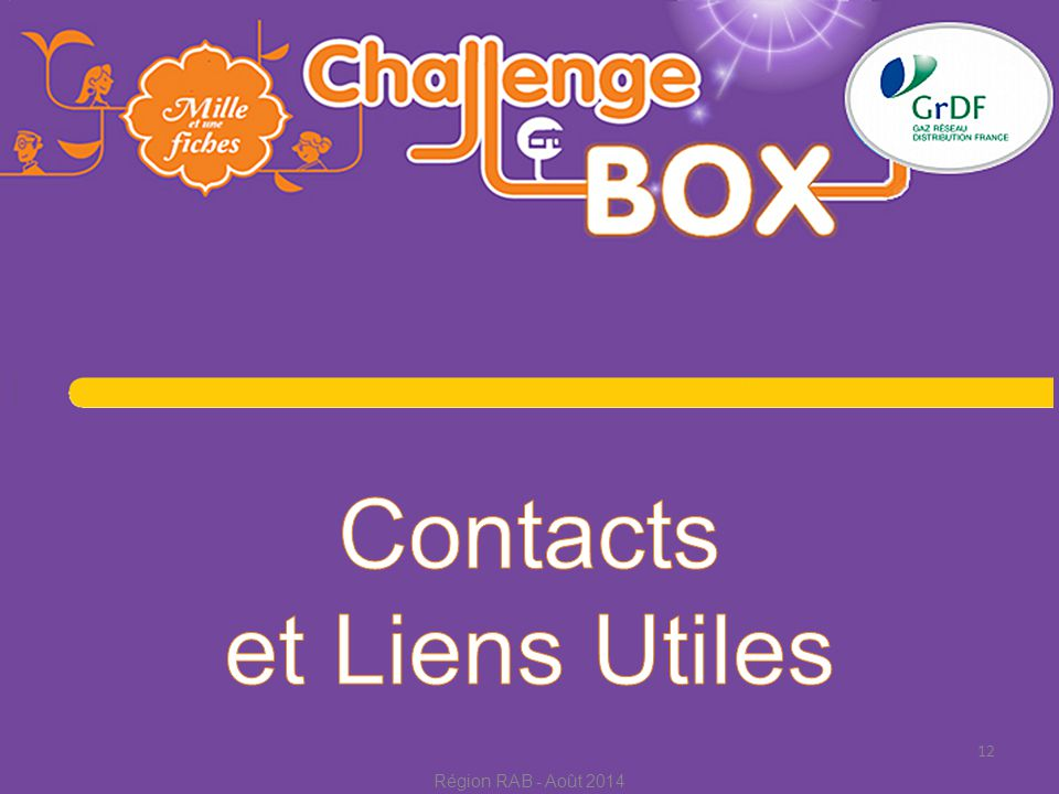 Contacts et Liens Utiles Région RAB - Août 2014