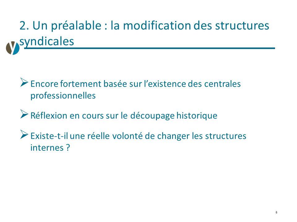 2. Un préalable : la modification des structures syndicales