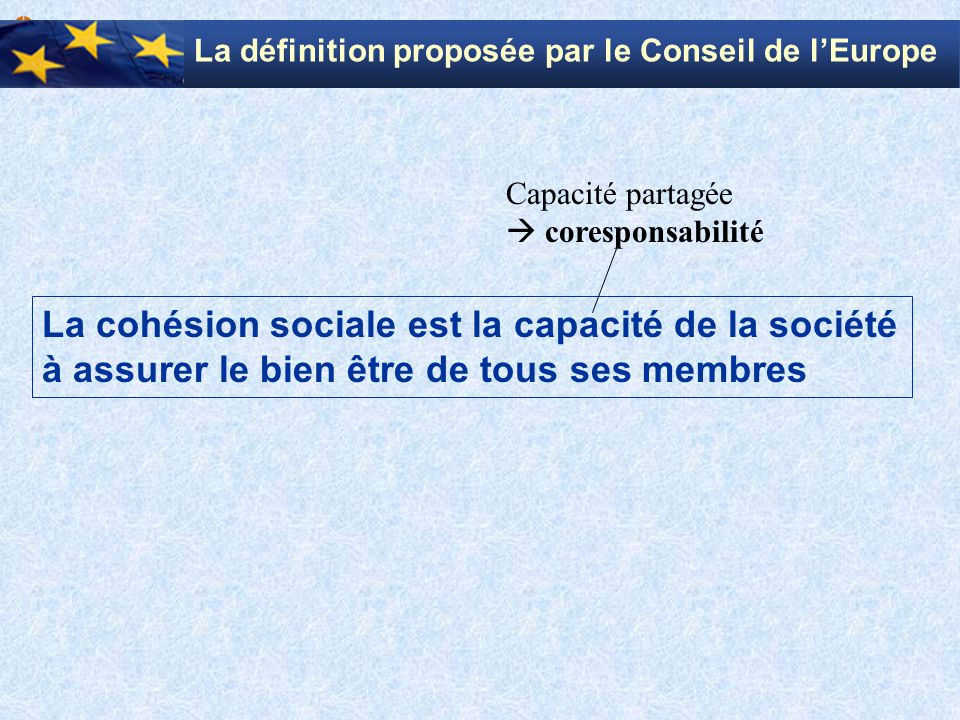 La définition proposée par le Conseil de l'Europe