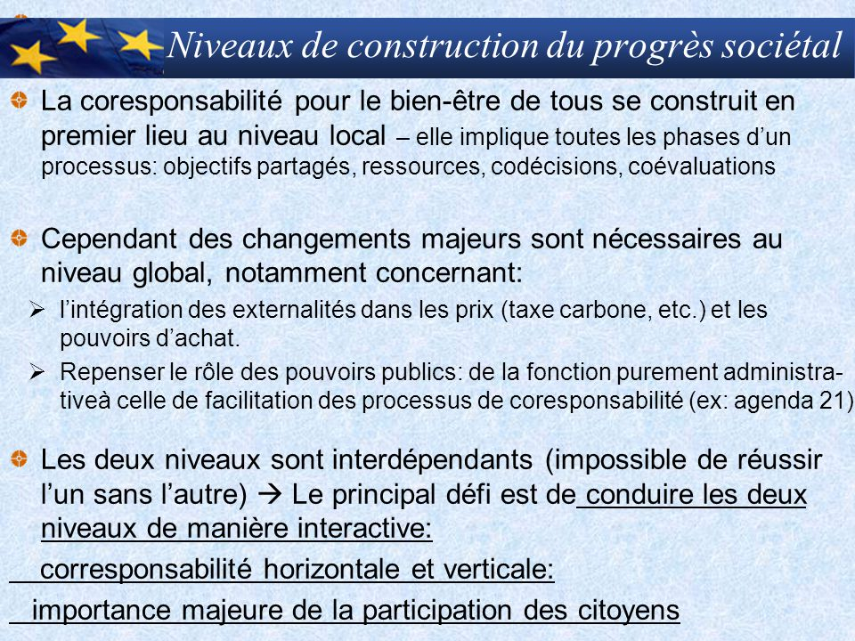 Niveaux de construction du progrès sociétal