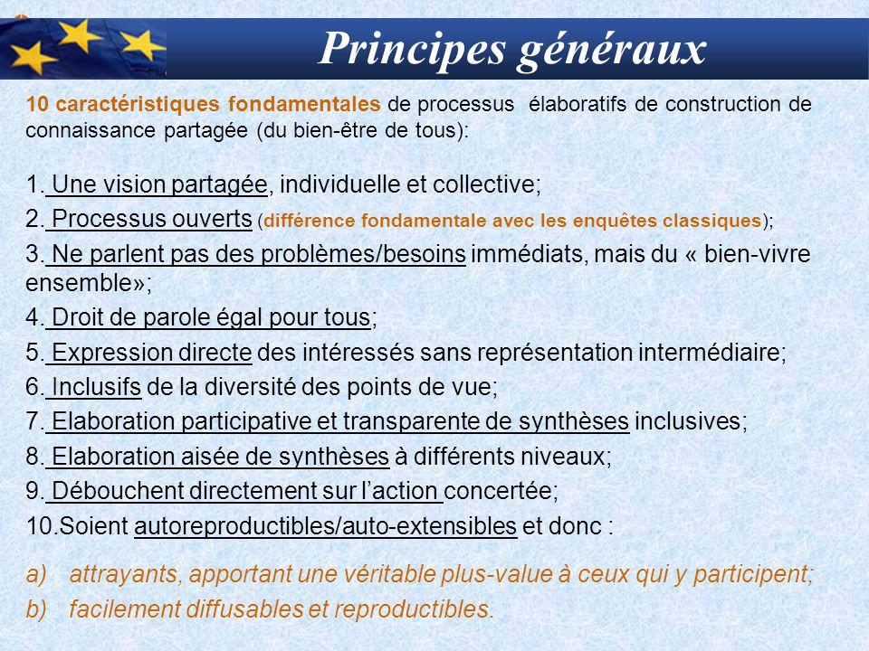 Principes généraux Une vision partagée, individuelle et collective;