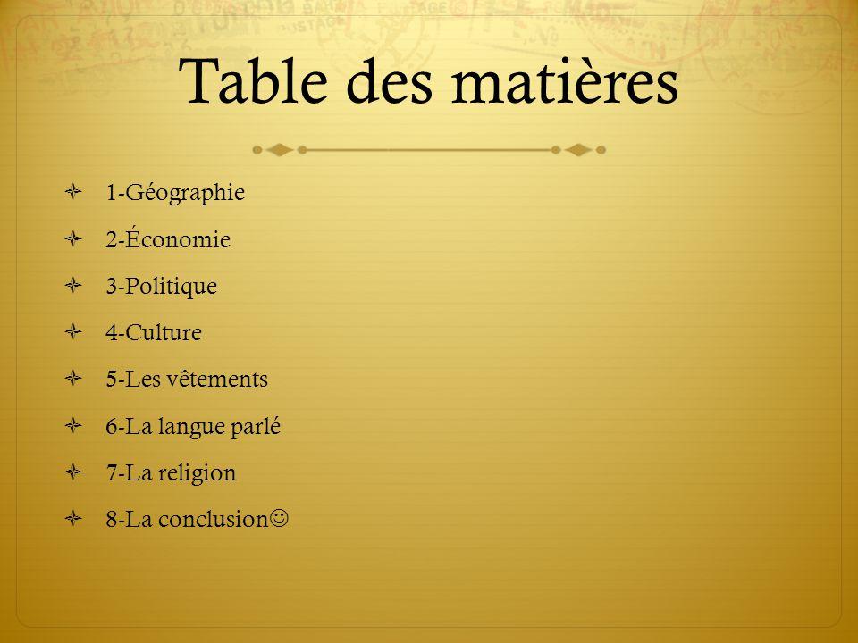 Table des matières 1-Géographie 2-Économie 3-Politique 4-Culture