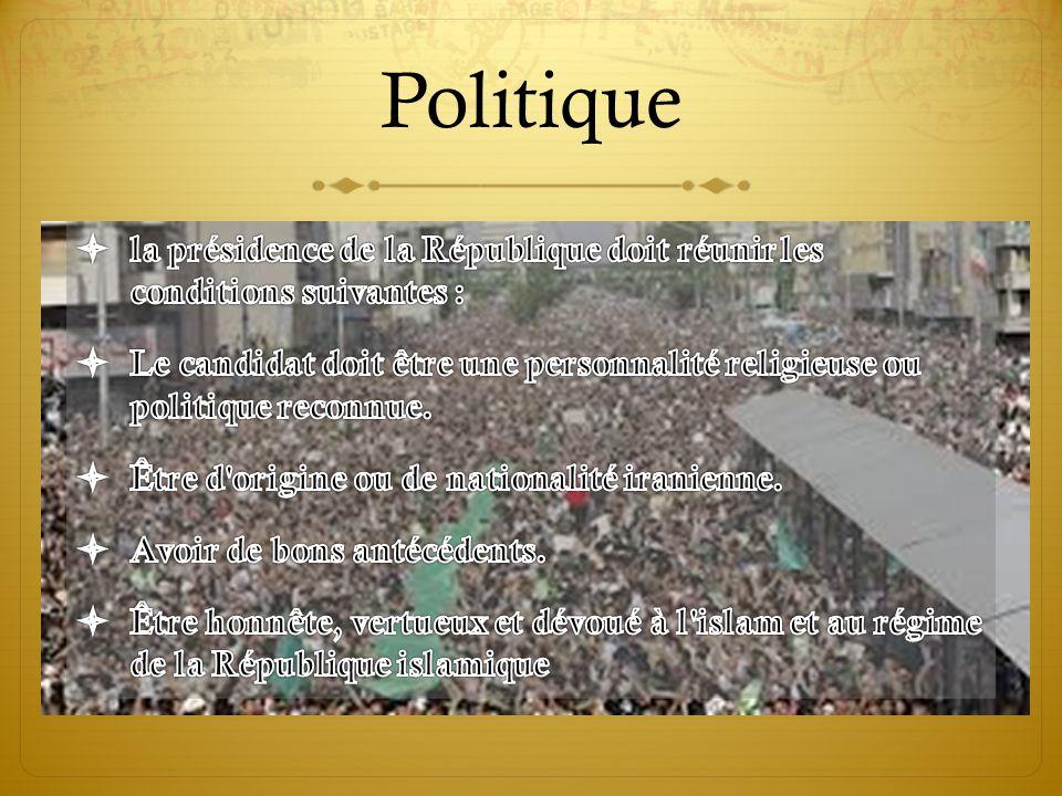 Politique la présidence de la République doit réunir les conditions suivantes :