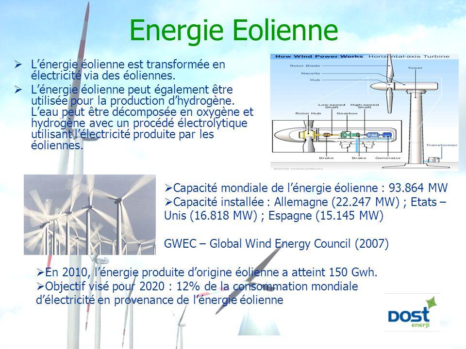 Energie Eolienne L'énergie éolienne est transformée en électricité via des éoliennes.