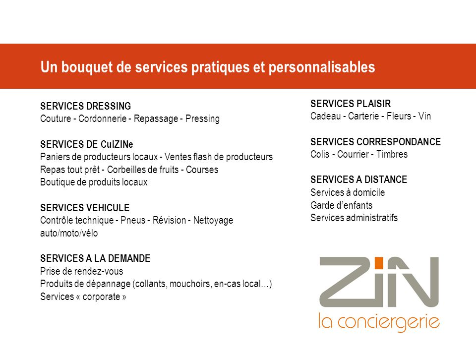 Un bouquet de services pratiques et personnalisables