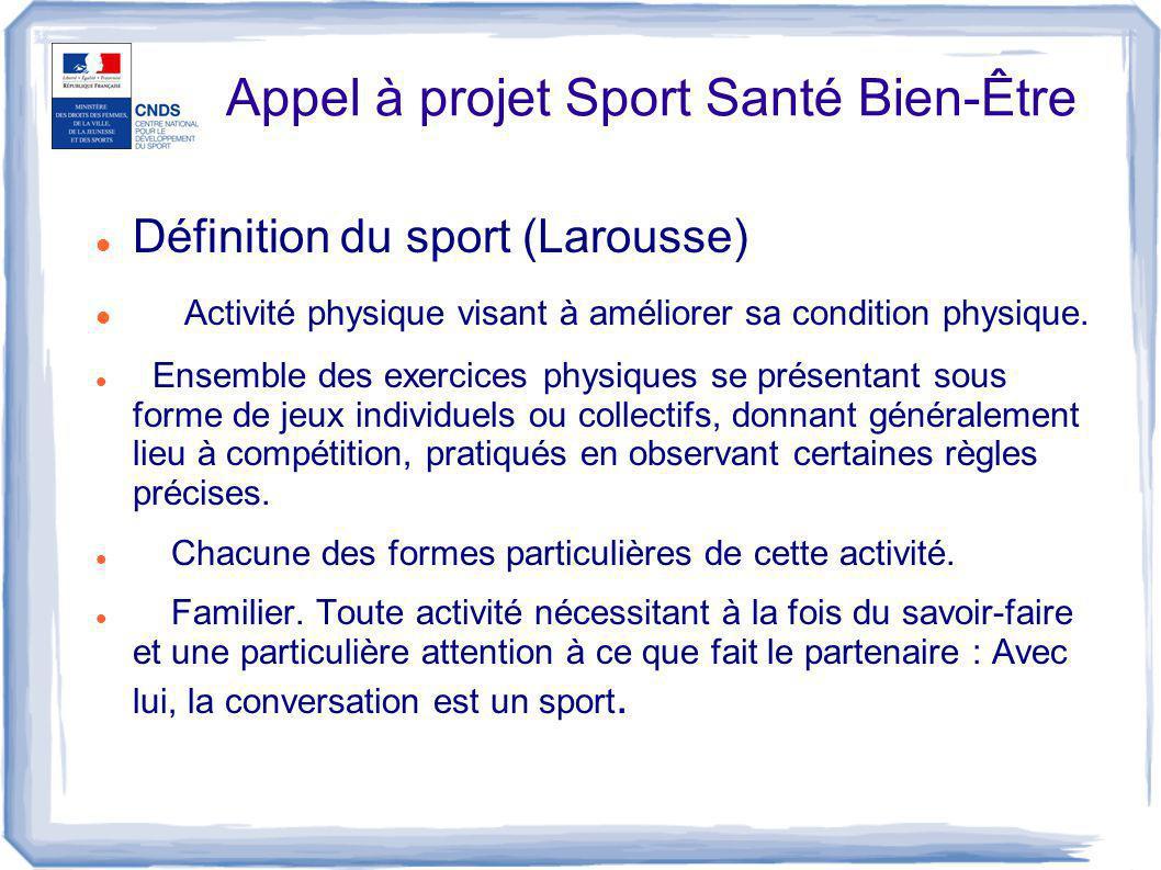 Appel à projet Sport Santé Bien-Être
