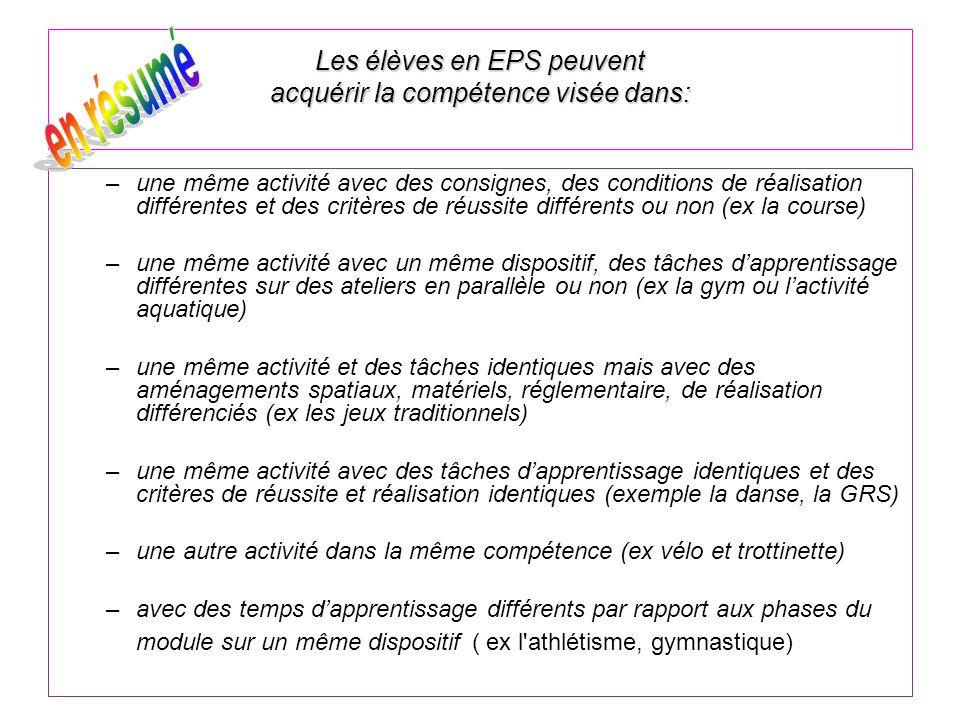 Les élèves en EPS peuvent acquérir la compétence visée dans: