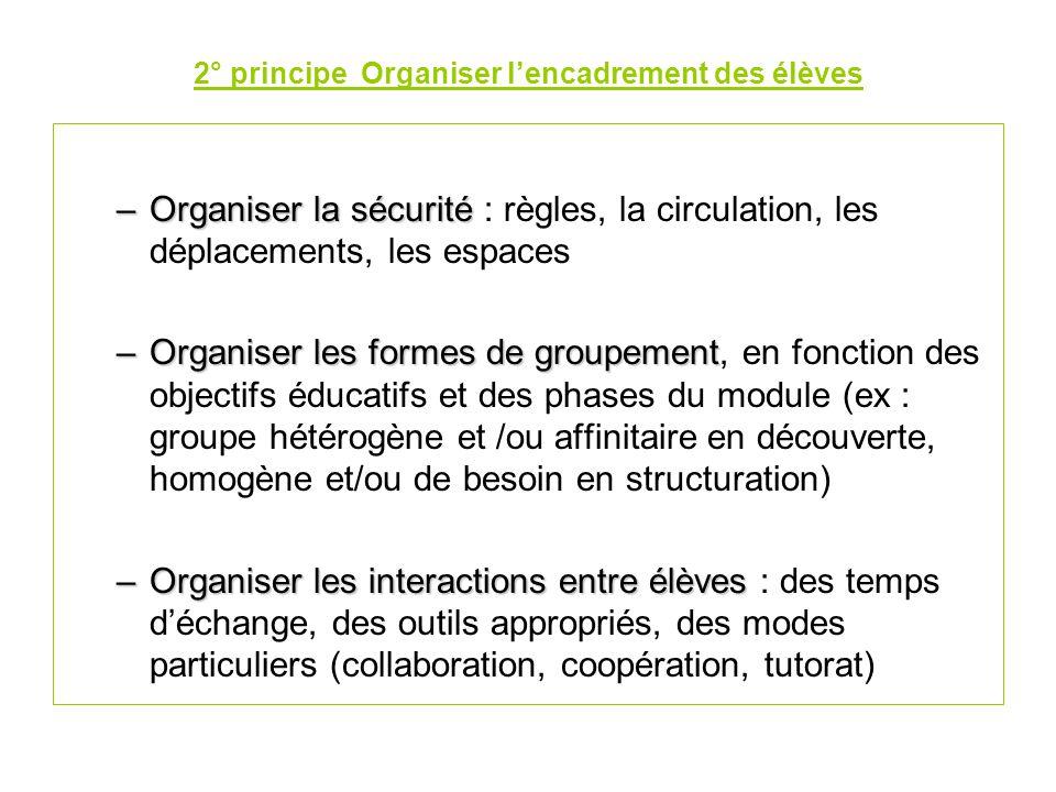 2° principe Organiser l'encadrement des élèves