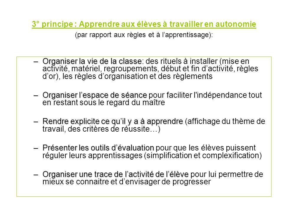 3° principe : Apprendre aux élèves à travailler en autonomie (par rapport aux règles et à l'apprentissage):