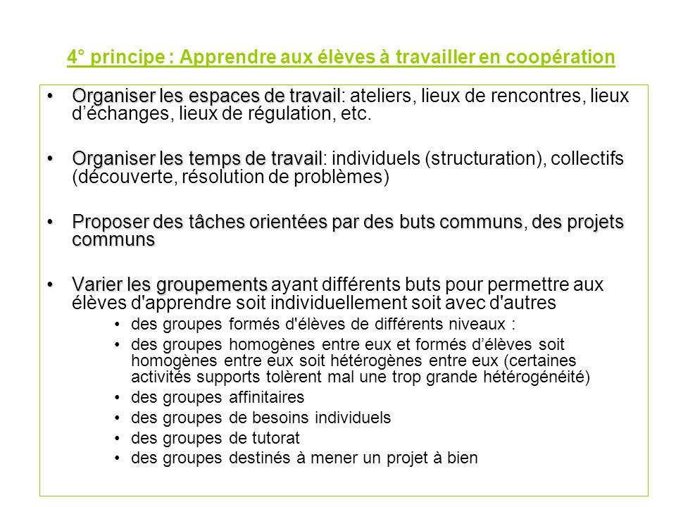 4° principe : Apprendre aux élèves à travailler en coopération
