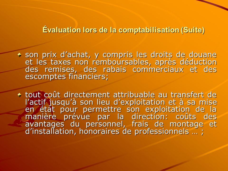 Évaluation lors de la comptabilisation (Suite)