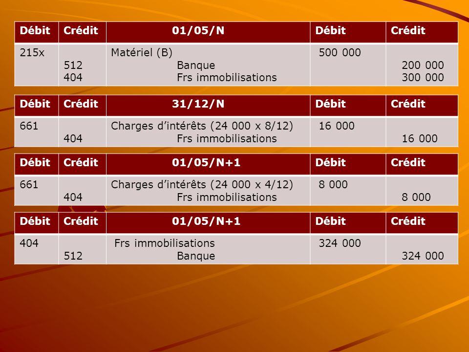 Débit Crédit. 01/05/N. 215x. 512. 404. Matériel (B) Banque. Frs immobilisations. 500 000. 200 000.