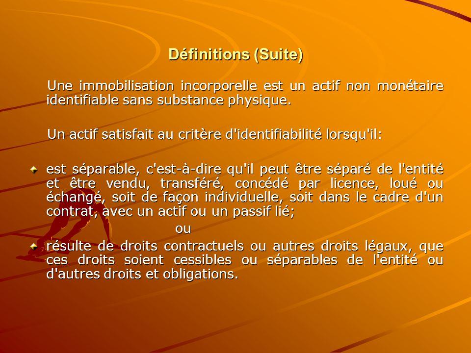 Définitions (Suite) Une immobilisation incorporelle est un actif non monétaire identifiable sans substance physique.
