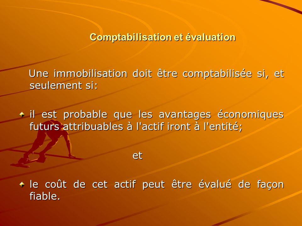 Comptabilisation et évaluation