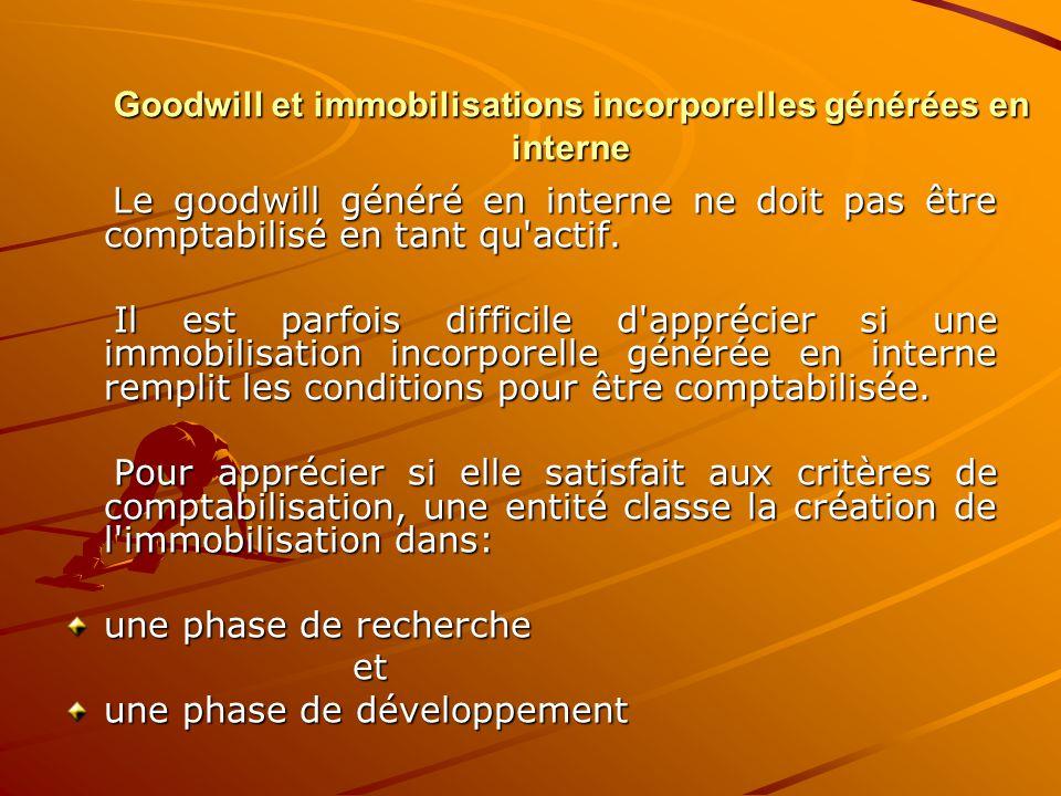 Goodwill et immobilisations incorporelles générées en interne