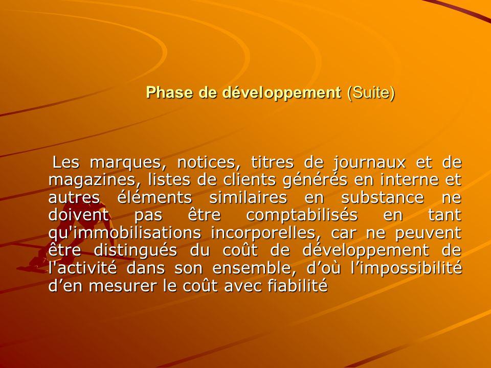 Phase de développement (Suite)