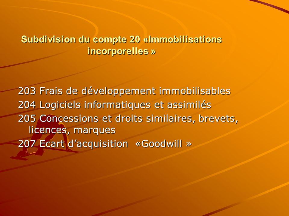 Subdivision du compte 20 «Immobilisations incorporelles »