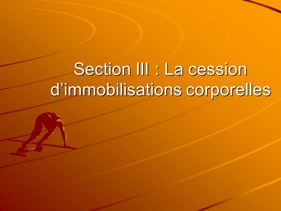 Section III : La cession d'immobilisations corporelles
