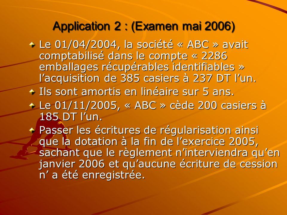 Application 2 : (Examen mai 2006)
