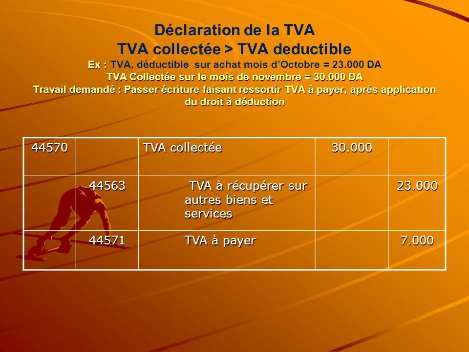 Déclaration de la TVA TVA collectée > TVA deductible Ex : TVA, déductible sur achat mois d'Octobre = 23.000 DA TVA Collectée sur le mois de novembre = 30.000 DA Travail demandé : Passer écriture faisant ressortir TVA à payer, aprés application du droit à déduction