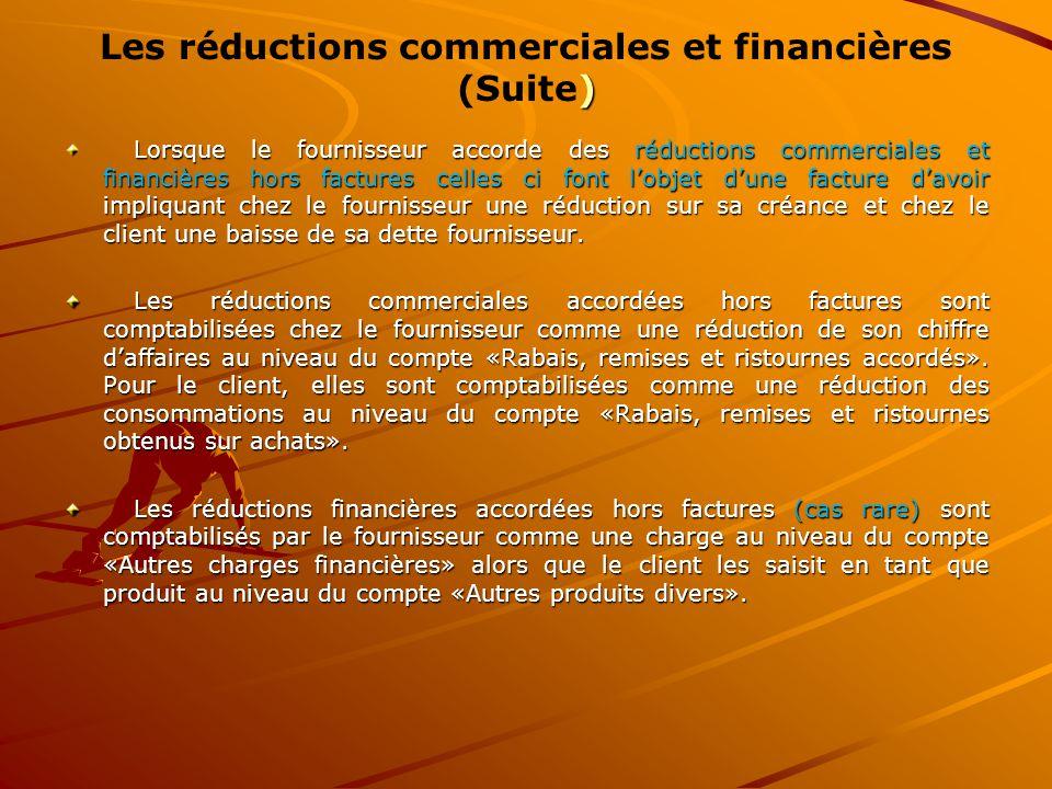 Les réductions commerciales et financières (Suite)