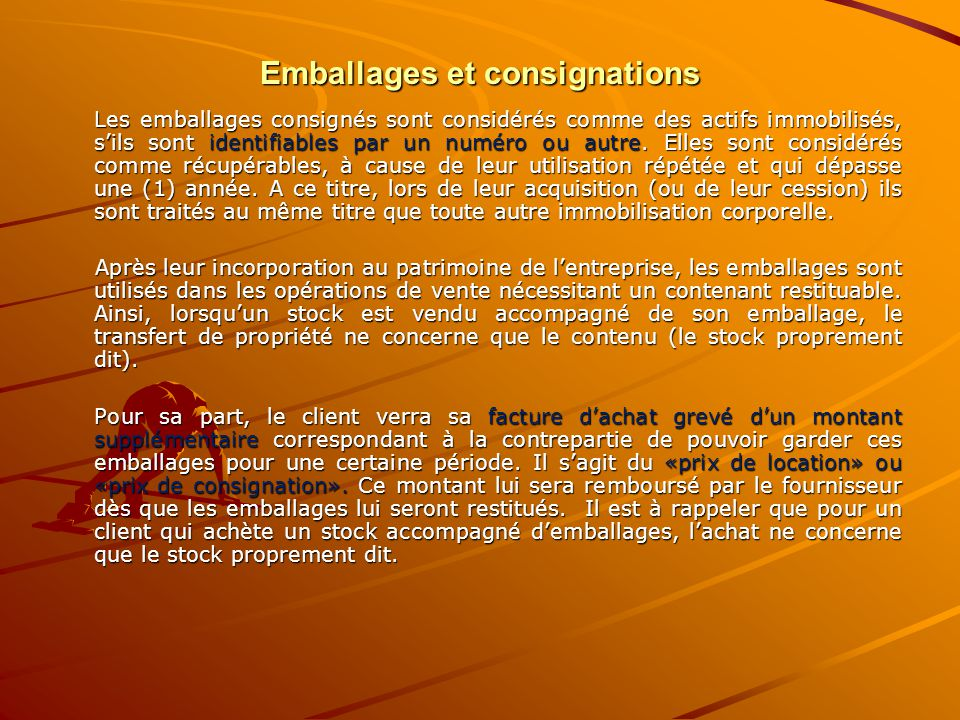 Emballages et consignations