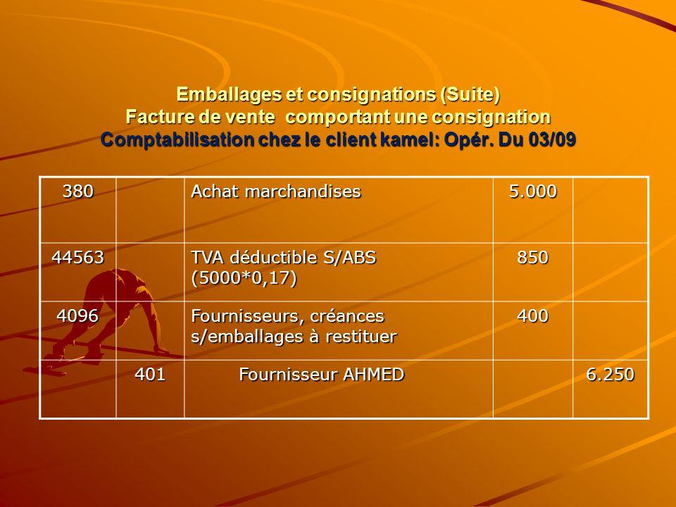Emballages et consignations (Suite) Facture de vente comportant une consignation Comptabilisation chez le client kamel: Opér. Du 03/09