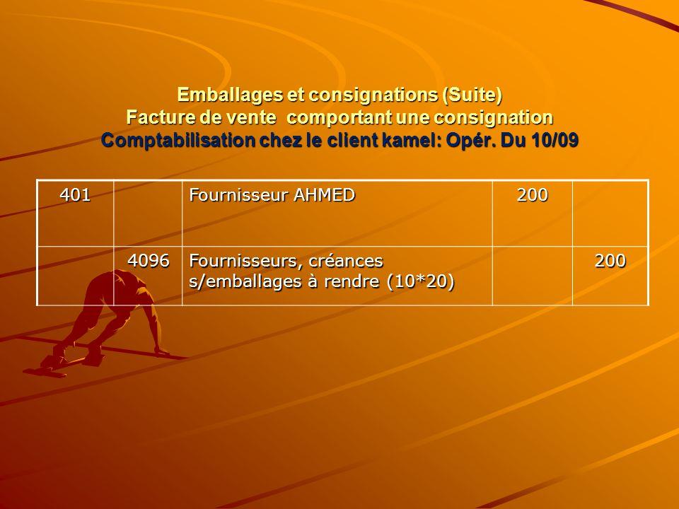 Emballages et consignations (Suite) Facture de vente comportant une consignation Comptabilisation chez le client kamel: Opér. Du 10/09