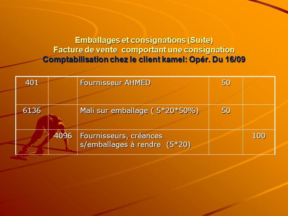 Emballages et consignations (Suite) Facture de vente comportant une consignation Comptabilisation chez le client kamel: Opér. Du 16/09