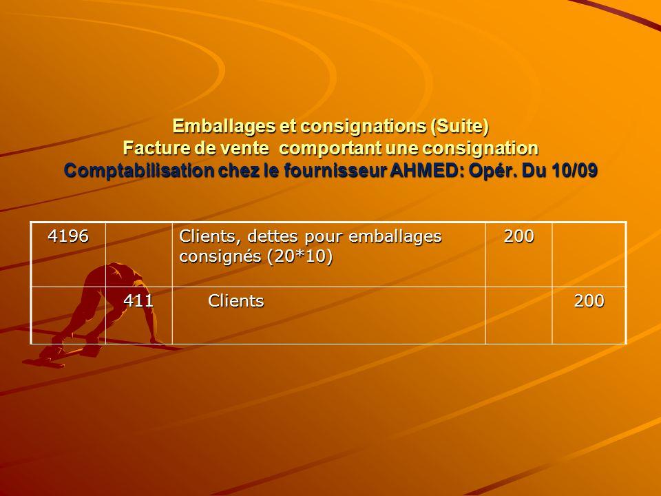 Emballages et consignations (Suite) Facture de vente comportant une consignation Comptabilisation chez le fournisseur AHMED: Opér. Du 10/09