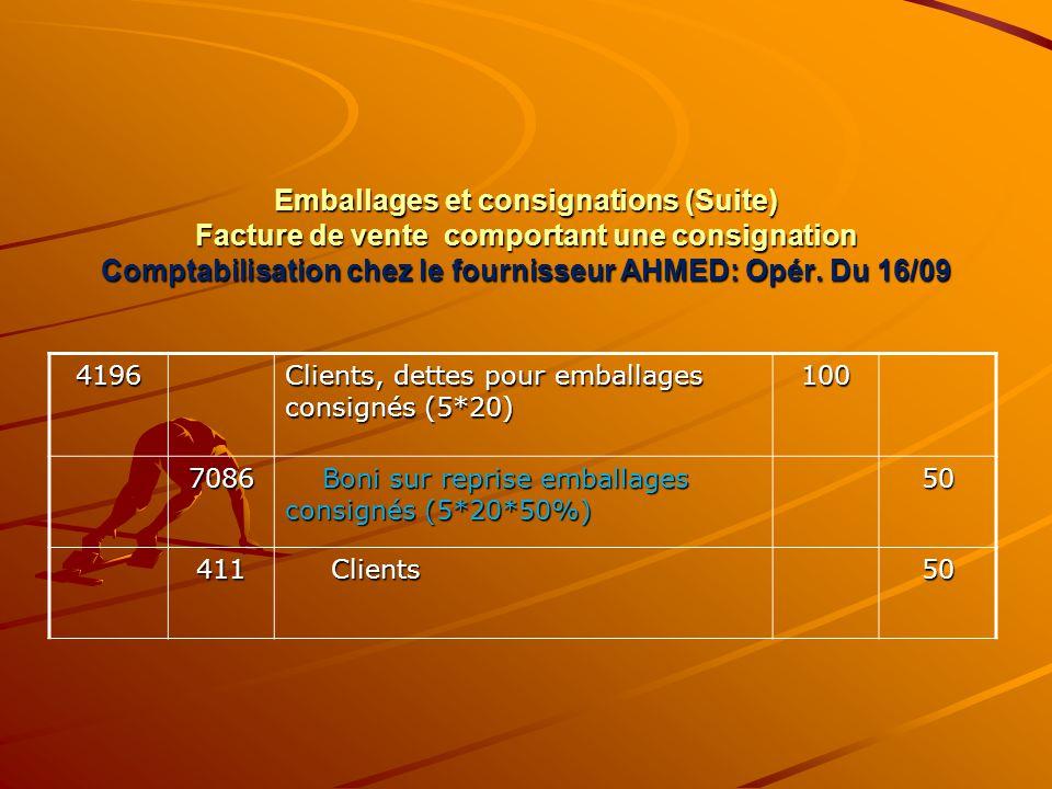 Emballages et consignations (Suite) Facture de vente comportant une consignation Comptabilisation chez le fournisseur AHMED: Opér. Du 16/09