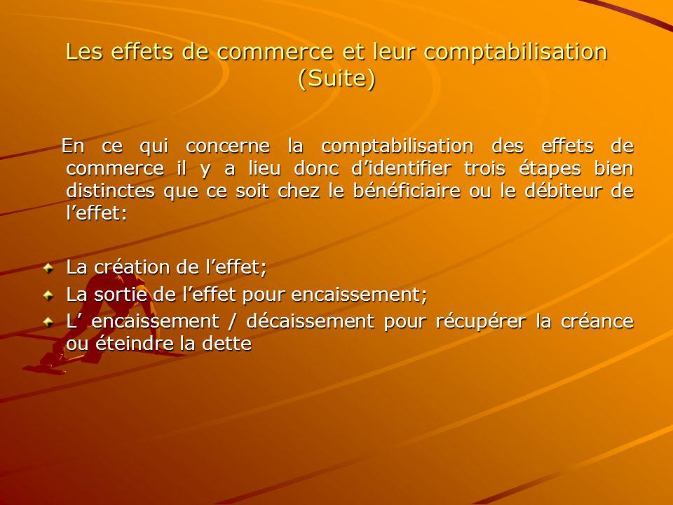 Les effets de commerce et leur comptabilisation (Suite)