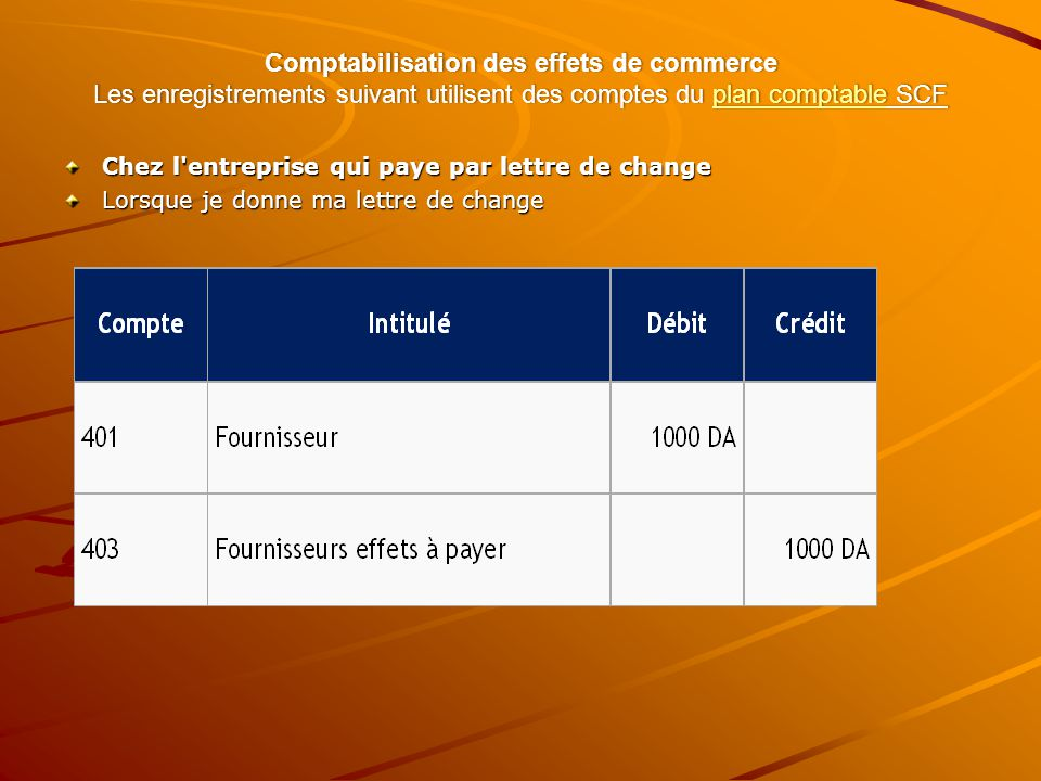 Comptabilisation des effets de commerce Les enregistrements suivant utilisent des comptes du plan comptable SCF