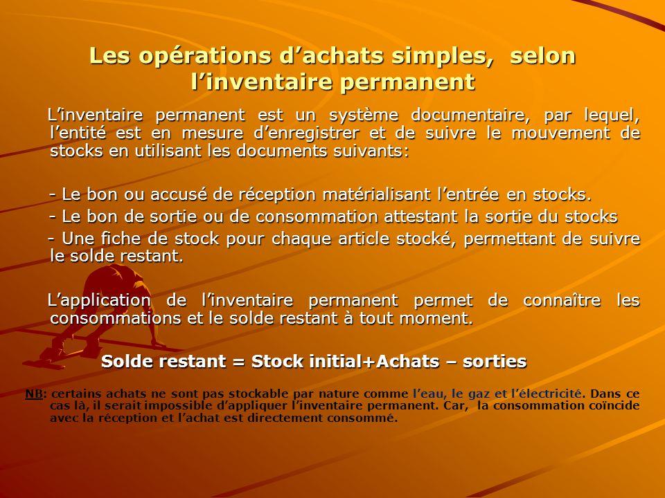 Les opérations d'achats simples, selon l'inventaire permanent