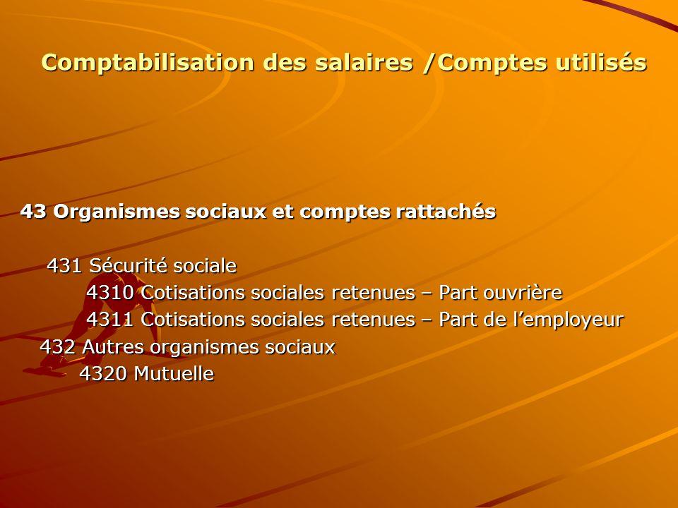 Comptabilisation des salaires /Comptes utilisés