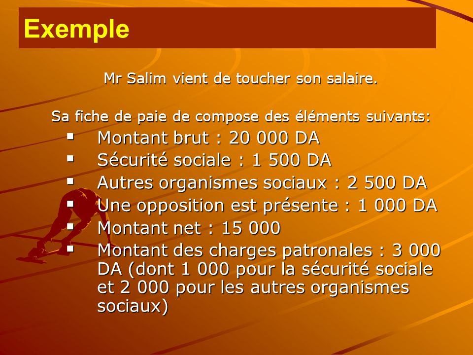 Exemple Montant brut : 20 000 DA Sécurité sociale : 1 500 DA