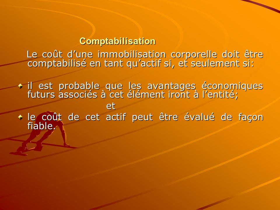 Comptabilisation Le coût d'une immobilisation corporelle doit être comptabilisé en tant qu'actif si, et seulement si: