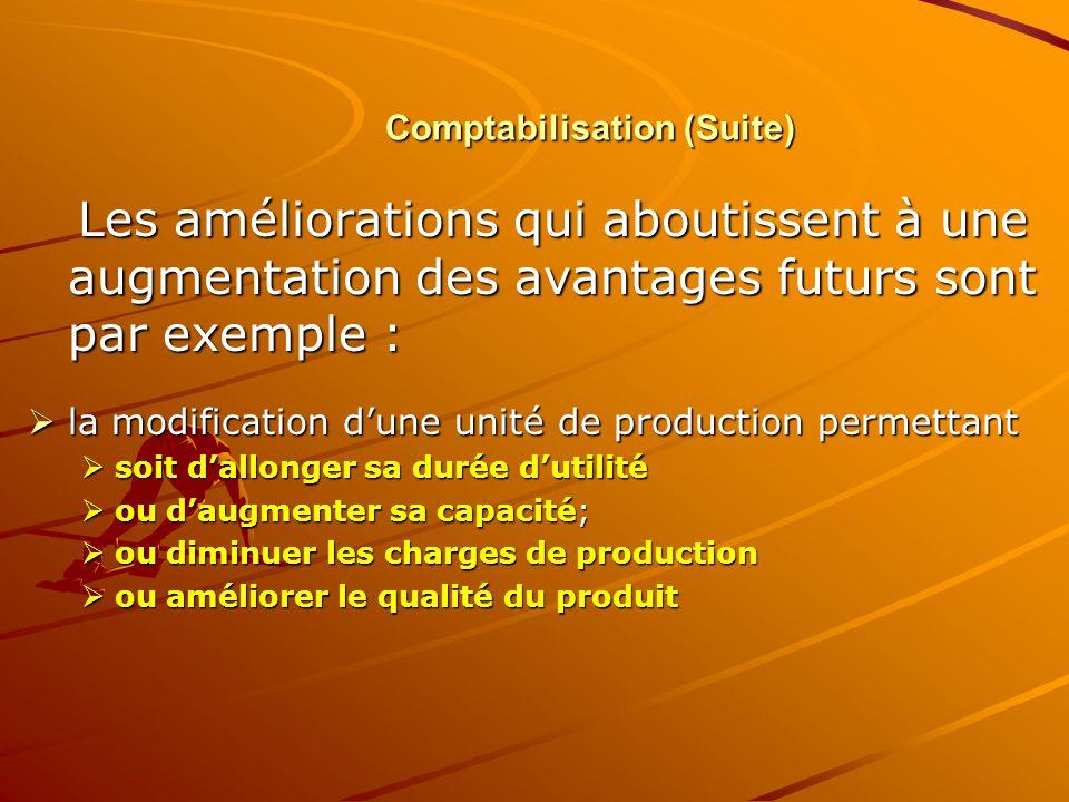 Comptabilisation (Suite)