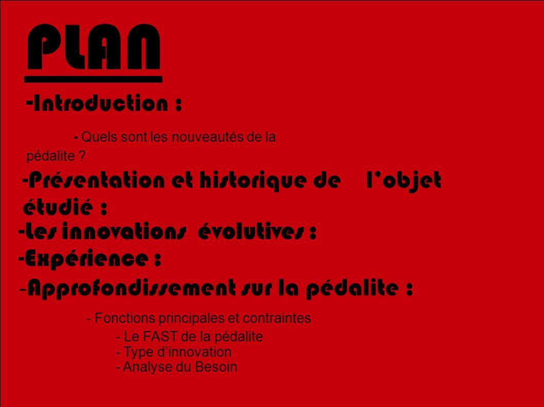 PLAN -Introduction : - Quels sont les nouveautés de la pédalite