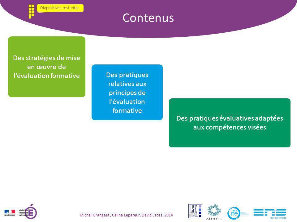 Contenus Des stratégies de mise en œuvre de l évaluation formative