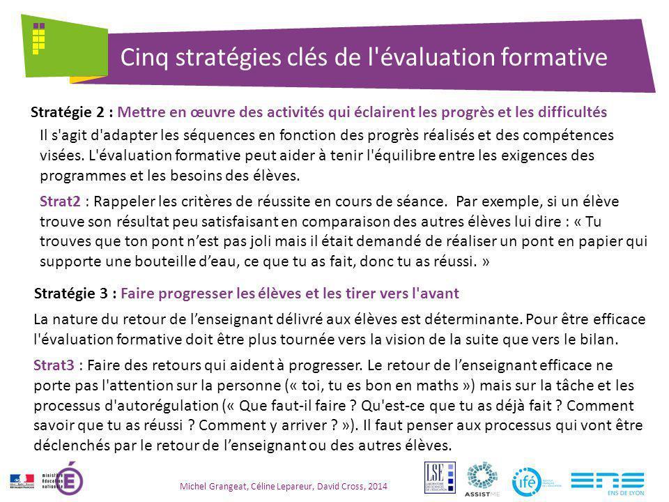Cinq stratégies clés de l évaluation formative