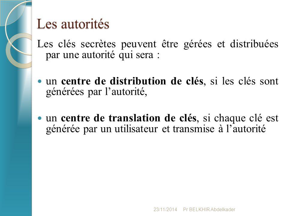 Les autorités Les clés secrètes peuvent être gérées et distribuées par une autorité qui sera :